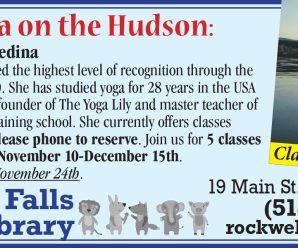 Hatha Yoga on the Hudson: Wednesday Nov 10th to Dec 15th  (no class Nov 24th) 6:30 pm to 8:00 pm